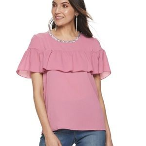 Juicy Couture Pink ruffle layered top